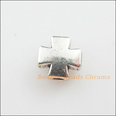 18Pcs Tibetan Silver Tone Smooth Cross Spacer Beads Charms 8mm