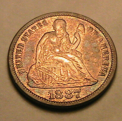 1887-P Ch AU Nice Album Toned Ten Cents Seated Liberty Dime Silver 10C USA Coin