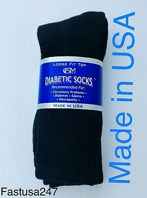 Top quality black 3 pair of men's Diabetic crew socks size 10-13 ( MADE IN USA )