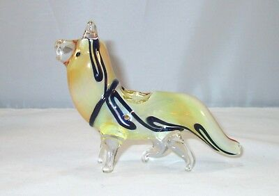 "Glass Dog Wolf Tobacco Pipe 5"" Collectible Hand Blown Animal"