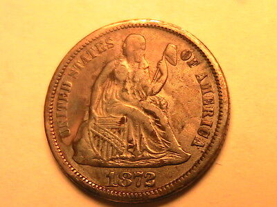 1872-P Original Toned  aEF Seated Liberty Dime 10C Ten Cent Silver USA Coin