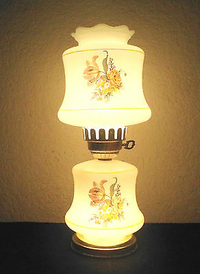 Gone With The Wind Vintage 3-Way Cased White Glass Floral Display Hurricane Lamp