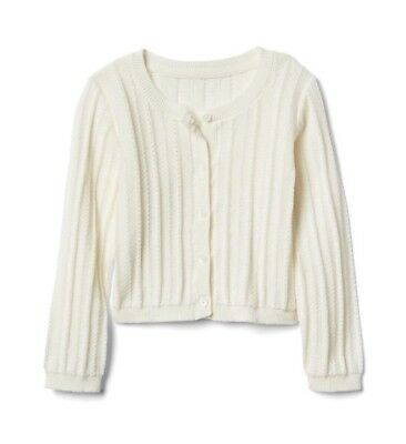 2295a6f0054 Baby Gap Girl Toddler Ribbed Crew Cardigan Sweater Ivory Size 12-18 Months  NWT