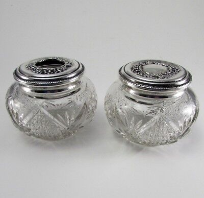 Matched Set of 2 Antique English Victorian Glass Dresser Jars with Silver Tops