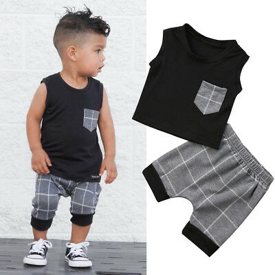 AU Stock Summer Newborn Infant Baby Boy Sleeveless Tops Short Pants Outfits Set