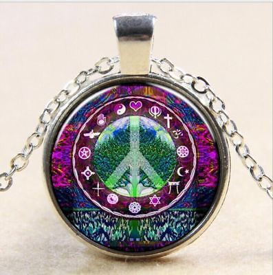 The tree of life peace time gem Ancient silver pendant necklace