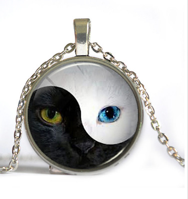 The cat's eye ancient silver glass pendant necklace