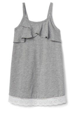 581879400 GAP BABY GIRL Toddler Ruffle Spaghetti Dress Gray Grey White Size 12 ...