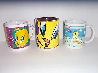 ** Lot of 3 Looney Tunes TWEETY BIRD Ceramic Coffee Tea Collector's Mugs **