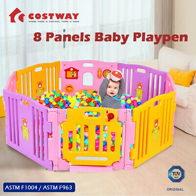 Baby Playpen Interactive Kids Play Room Toddler Safety Gate 8 Panel W/ Lock Door