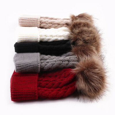 US Seller Women Baby Warm Winter Knit Wool Beanie Fur Pom Bobble Hat Crochet Cap