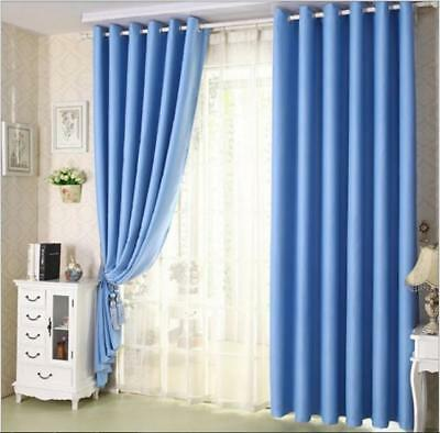 Solid Grommet Window Curtain Lined Blackout Thermal Treatment Drape Panel Hot