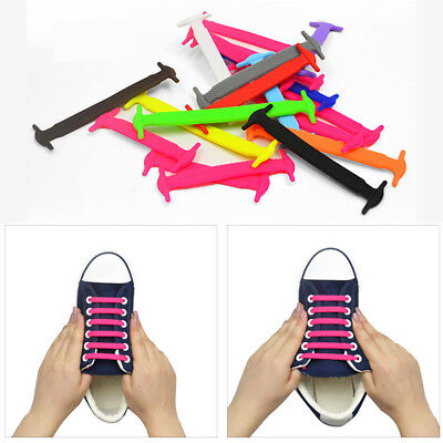 Shoelaces Lazy Elastic Silicone Tie Shoe No Laces Sneakers Strings Running 16pcs