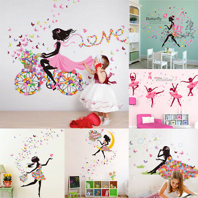 GIRL BUTTERFLIES WALL Stickers for Bedroom Living Room Decor ...