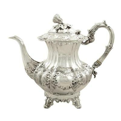 ANTIQUE EARLY VICTORIAN STERLING SILVER COFFEE POT - 1839 - 1005g