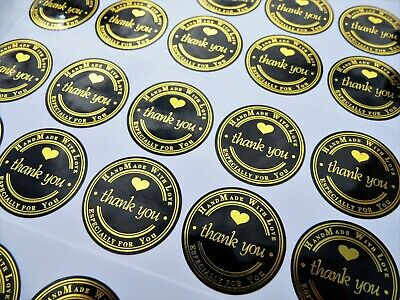 Round Paper Labels THANK YOU HAND MADE WITH LOVE handmade Stickers BLACK & GOLD
