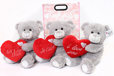 """16"""" Large Grey Teddy Bear In Gift Bag Mothers Day  I Love You Plush Toy Present"""