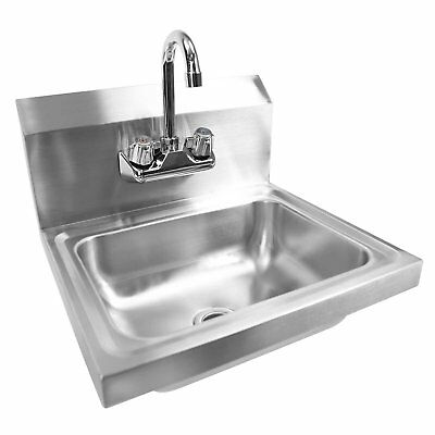 Commercial Kitchen Stainless Steel Sink Wall Mount Hand Washing Basin w/ Faucet