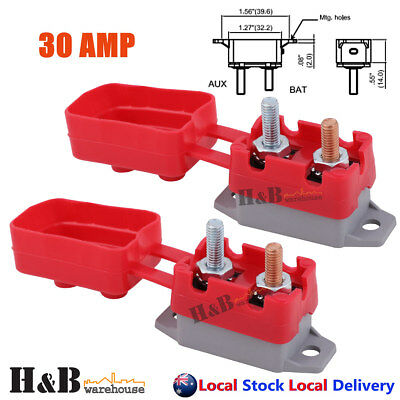 2X30A AMP 12V Circuit Breaker Cover Stud Type Fuse Automatic Auto Reset C0152