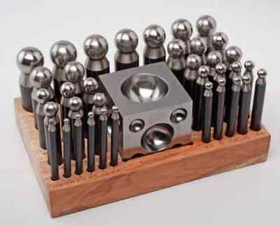 37 pc Doming Block and Punch Set made of Steel Dapping craft metal shaping tool