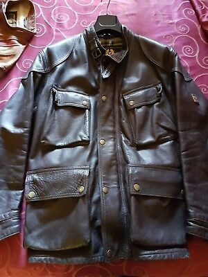 BELSTAFF Panther LEATHER FILM JACKET Size L brown RARE GENUINE V GOOD CONDITION