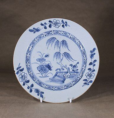 Antique Chinese Porcelain Blue & White Plate Willow and Fencing