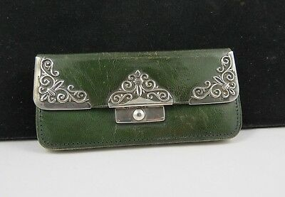 Victorian Silver Mounted Green Leather Purse Hallmarked Henry Marshall 1899