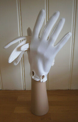 VINTAGE 1960s IVORY WRIST LENGTH STRETCH NYLON GLOVES DOUBLE BOW DETAIL WEDDING