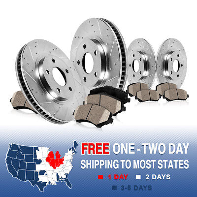 FRONT & REAR Drilled & Slotted Brake Rotors & Ceramic Pads 2009 - 2013 Venza