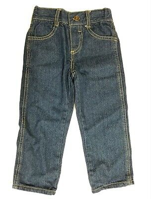 Toddler Boys Jeans Straight Leg Elastic Waist Dark Blue Denim Pants 2t 3t 4t New
