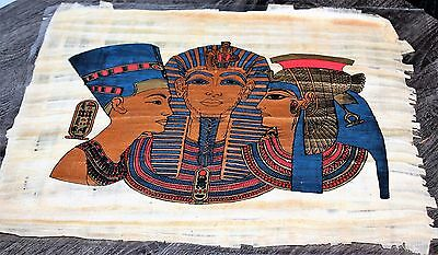 """Egytian Papyrus Hand Made 16"""" x 12"""" Ancient Art Royalty Collectible Gold New"""
