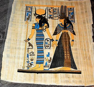"""Egytian Papyrus Hand Made 16"""" x 12"""" Ancient Art Silver Gold Collectible New"""