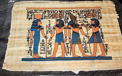 """Egyptian Papyrus Hand Made 16"""" x 12"""" Ancient Art Royalty Collectible Gold New"""