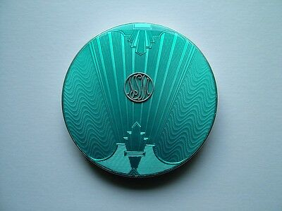 Art Deco Silver Enamel Crystal Powder Bowl By Comyns & Sons