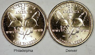 2016-P Native American Dollar Sacagawea Phila CODE TALKERS WWI /& WWII  MS-UNC BU