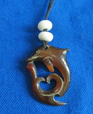 Hand Carved Horn Dolphin  Adjustable Necklace~ NEW