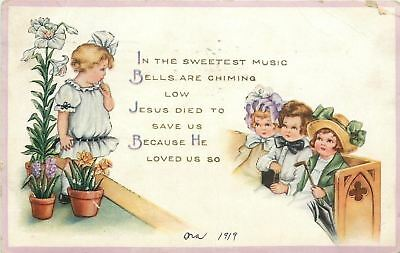 Easter~Girl in Lily Pots~Church Pew Children~Jesus Died to Save Us~Whitney Made