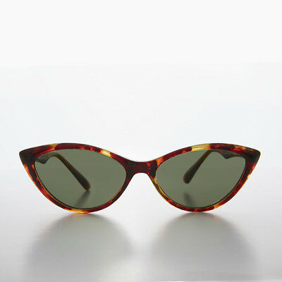 Tortoiseshell Cat Eye Sunglass 1950s Retro Style with Green Lens - Misfit
