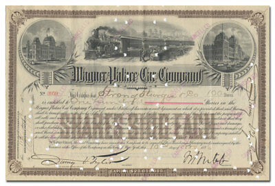 Wagner Palace Car Company Stock Certificate Signed by William Webb