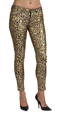 Women's Print Coated Floral Gold Skinny High Fashion Jeans