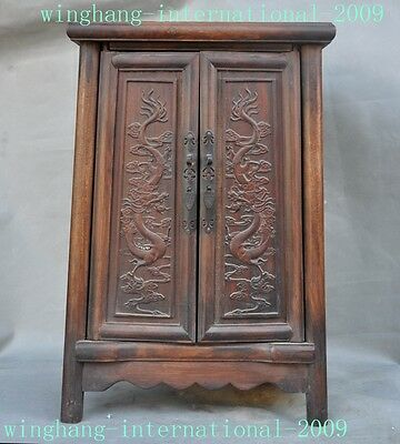Old Chinese Boxwood Wood Dragon Loong statue Classical Cabinet Cupboard Statue