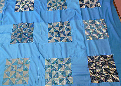 """Antique 1880-1910 PINWHEEL Cotton Quilt Top 87""""x 91"""" AWESOME FABRICS!!!"""