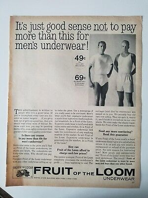 1961 FRUIT OF LOOM men's underwear briefs good sense not to pay more ad