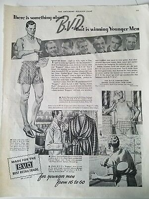 1937 B.V.D. BVD men's plaid underwear robes vintage fashion ad