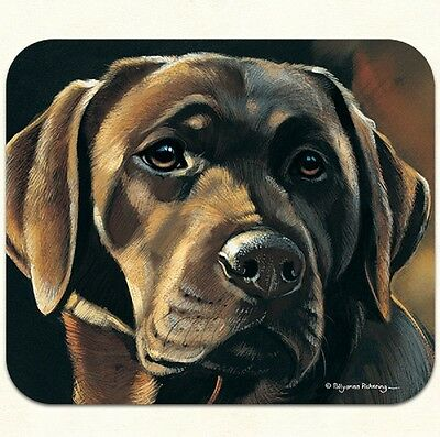 MOUSE PAD--Chocolate Lab Portrait--Polyester Front Neoprene Back **Beautiful**