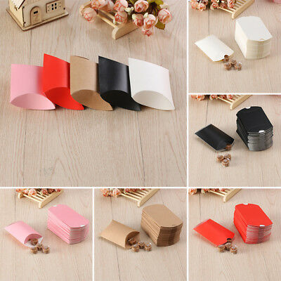 10/50x Paper Bags Pillow Box Gift Wedding Party Cake Bread Candy Favor Bag Craft