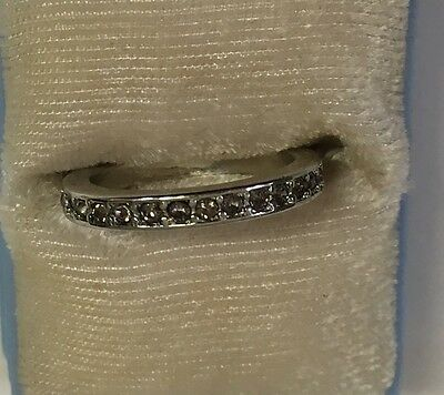 Vintage Silver Ring with Small Stones Size 7