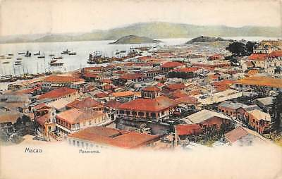 MACAO, CHINA, TOWN & HARBOR OVERVIEW, STERNBERG PUB used from Hong Kong 1908