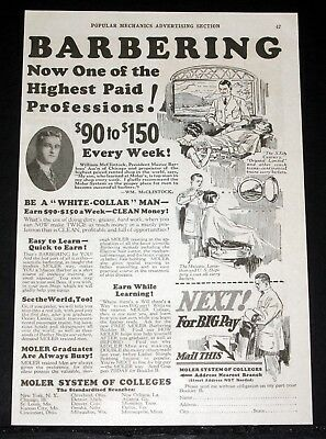 1929 Old Magazine Print Ad, Moller Barber College, Of Highest Paid Professions!