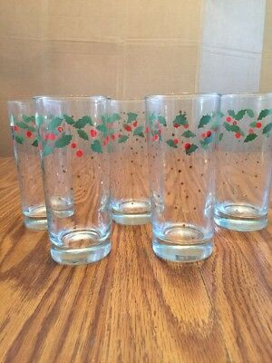 Vintage Clear Glass Christmas Holly Berry Drinking Glasses Tumblers Set of 5
